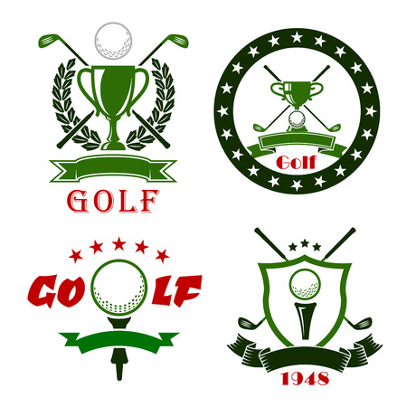 shield logo: Golf club or competition symbols and icons with balls, clubs, tees, trophy cups, heraldic shield, laurel wreath, stars and ribbon banners Illustration
