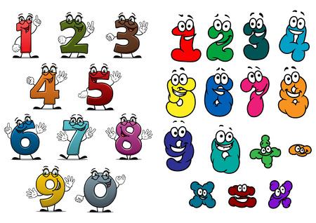 Cartoon funny colorful numbers and digits characters with happy faces for education or birthday design Ilustracja