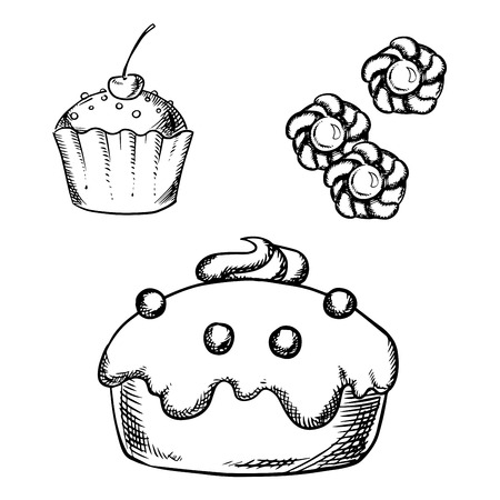 confectionery: Sketch of sweet cake with glaze and cream decorations, cupcake with sprinkles and cherry on the top, sugar cookies with jam. For confectionery or pastry shop design