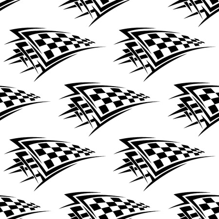 checkered: Black and white racing seamless background pattern with checkered flags in tribal style