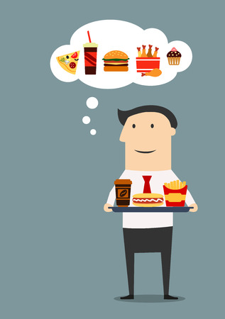 Office worker or manager carrying a tray with paper cup of coffee, hot dog and french fries box with thought bubble showing fast food products as pizza, cola, burger, fried chicken, cake. Cartoon flat style Illustration