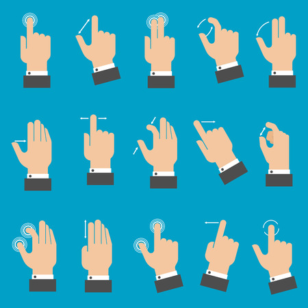 multitouch: Set of hands with multitouch gestures for tablet or smartphone on blue background. Flat style
