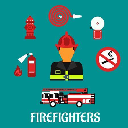 bombero de rojo: Concepto de profesi�n bombero con el bombero en casco rojo y traje de protecci�n total, rodeado de cami�n de bomberos, manguera, extintor, boca de riego, alarma contra incendios y muestra de no fumadores