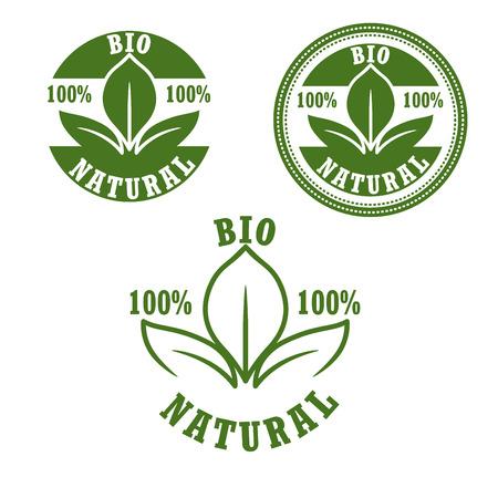 sellos: bio etiquetas verdes naturales con hojas frescas dispuestas en sellos redondos, para el diseño de la comida y bebidas paquete. Estilo retro