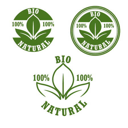 seal: Natural bio green labels with fresh leaves arranged in round seals, for food and drinks package design. Retro style