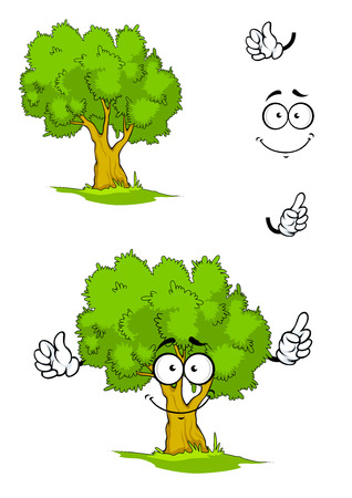 sappy: Cartoon smiling green tree character on a sunny glade with sappy grass showing attention gesture. For ecology or nature design Illustration