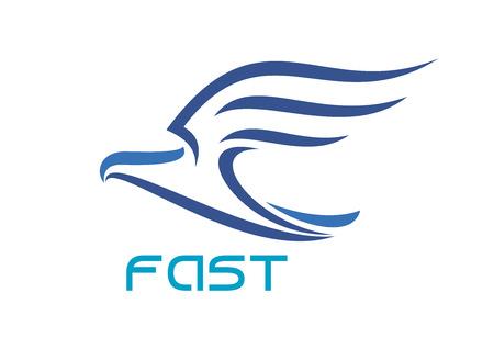 doprava: Letícího ptáka s křídly zdviženýma na bílém pozadí pro přepravu nebo zásilkovou službou designu