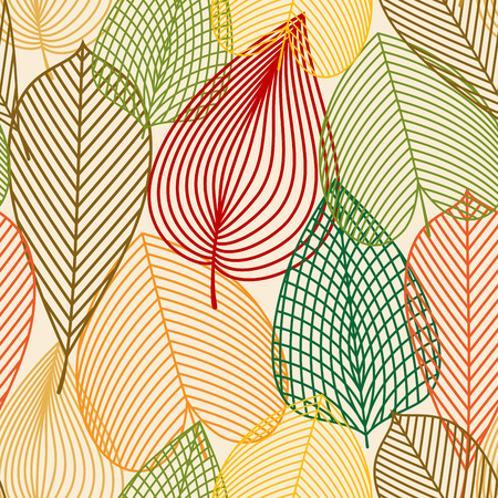 outline red: Colorful autumn leaves seamless pattern with outline red, brown, orange, yellow and green foliage