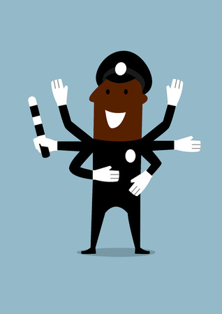 cheerful cartoon: Cheerful african american policeman in black uniform with many hands holding in one of them a traffic rod. Cartoon flat style