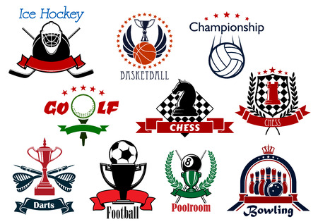 billiard balls: Sport and leisure icons or symbols with ice hockey, basketball, volleyball, golf, chess, darts, soccer, football, billiards, pool and bowling items