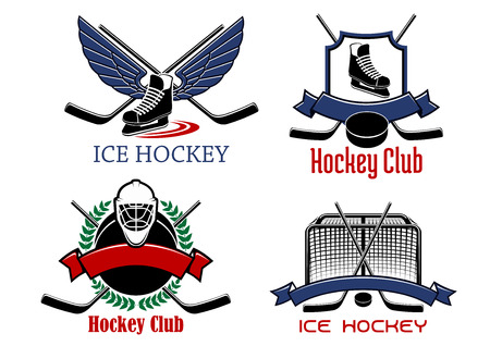 goalie: Ice hockey club or team badges and icons with crossed sticks, pucks, skates and goalie mask bordered by gate, shield, laurel wreath, decorated wings and ribbon banners