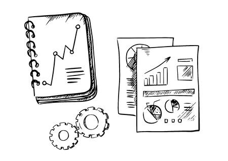Business notebook, i rapporti e gli ingranaggi mostrano le note e fogli di carta con grafico lineare finanziario e grafici a torta. Sketch style Archivio Fotografico - 43735138