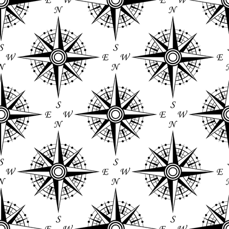 dial: Black and white nautical compass seamless pattern with vintage dials, for marine background or wallpaper design Illustration