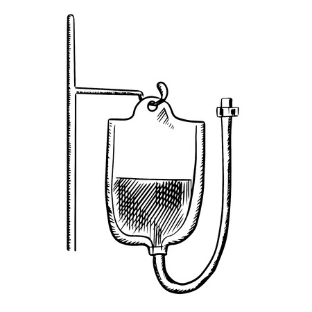 rh: Plastic bag with blood for transfusion hanging on stand. Outline sketch style, for health care or medicine design