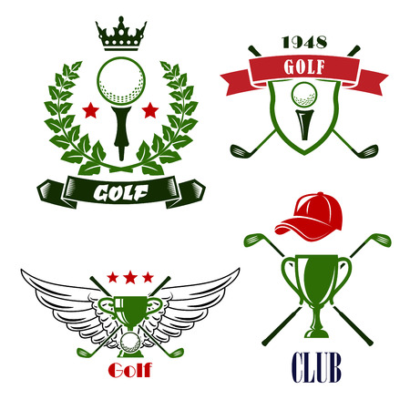 Heraldic golf club or tournament emblems with balls on tees framed by heraldic shield, ribbon banners, laurel wreath and trophy cups, crossed clubs, decorated stars, crown, wings and cap Illustration