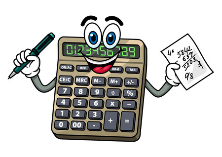 Cartoon smiling electronic calculator character with pen and note paper with calculations in hands, for education or finance design Çizim