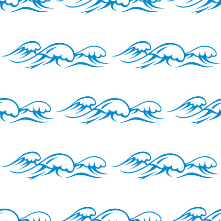 Blue outline seamless pattern of ocean waves with whitecaps on white background, for marine wallpaper or fabric design