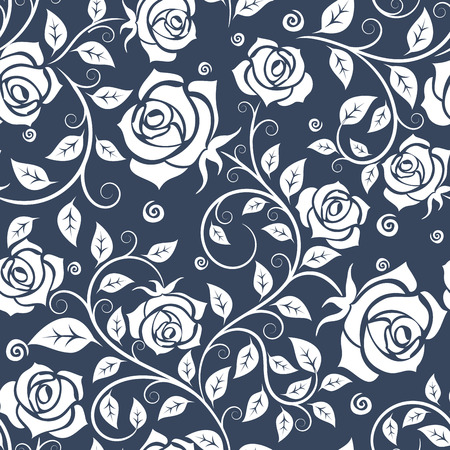 Floral seamless pattern with with blooming rose flowers, elegant leafy branches on gray background, for luxury wallpaper or interior design Ilustração