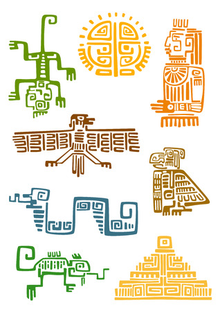 Ancient aztec and maya ornamental symbols of sun, god idol, pyramid, eagle, raven, monkey, sneak, lizard. For totem animal, religion or tattoo design Illustration