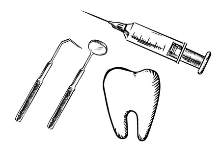 Sketch icons of tooth, syringe, dental mirror and probe isolated on white background, for dentistry and medicine design Illustration