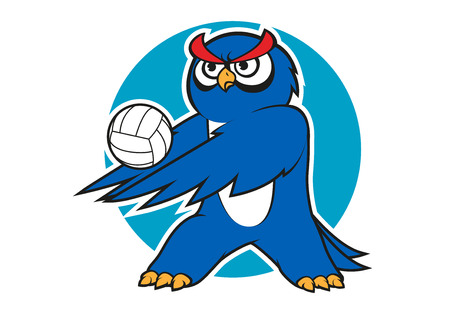 athlete cartoon: Blue owl volleyball player with a white ball, for sporting club or team mascot design
