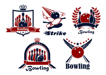 Bowling emblems with balls, ninepins, strike, lanes, supplemented heraldic shield, wreath, ribbon banners, stars, wings and crowns