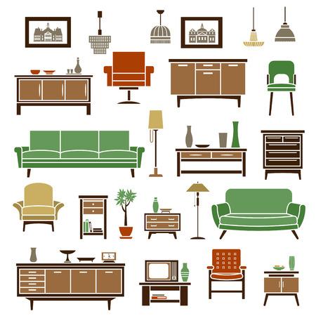 muebles de madera: Elementos de muebles para el hogar con sofás verdes suaves, sillones retro, silla alta, cofres de madera de cajones y estantes para libros con accesorios interiores y televisor, piso y lámparas colgantes. Iconos y objetos planos aislados