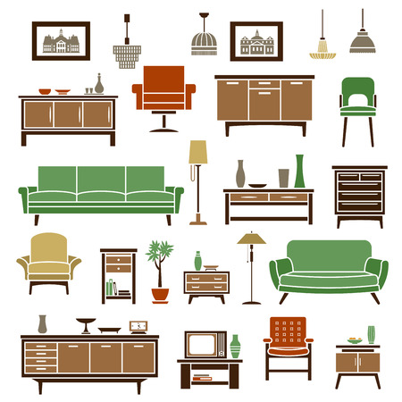 vintage furniture: Home furniture elements with green soft couches, retro armchairs, high chair, wooden chests of drawers and bookcases with interior accessories and tv set, floor and pendant lamps. Flat isolated icons and objects