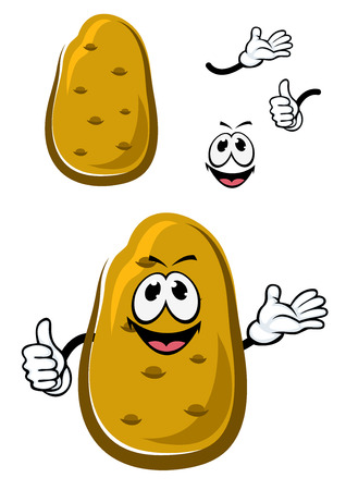 Carácter feliz fresco marrón patata verduras de dibujos animados dando un signo pulgar hacia arriba, para el diseño de sana comida vegetariana