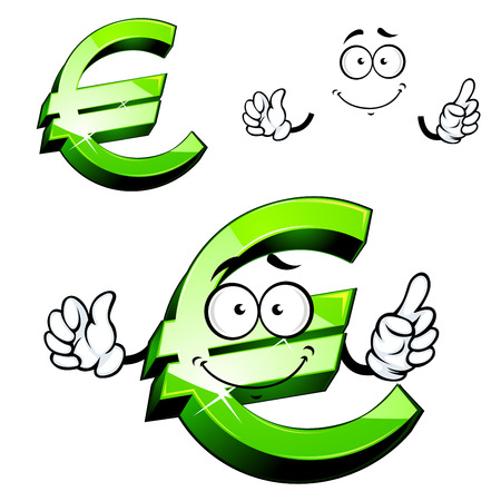 cheerful cartoon: Euro sign cartoon character with green shining surface and cheerful smile showing upward, for financial or business design