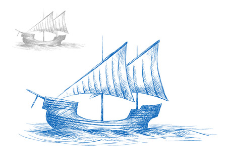 sailing: Old medieval sailing ship in ocean waves for nautical design. Sketch style