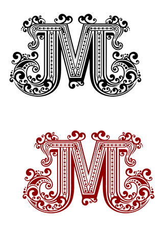 Uppercase letter M decorated with calligraphic swirl ornaments, flowing lines and dots for page decoration or monogram design