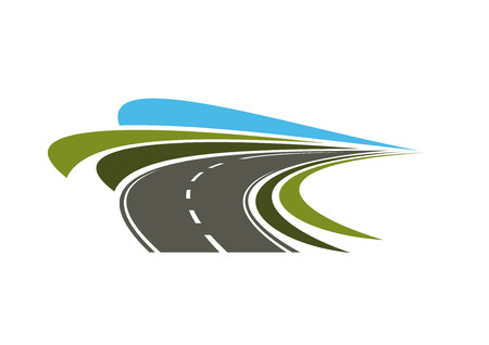 road line: Steep turn of speed road icon with flowing lines of green road sides and blue sky, for transportation or trip design