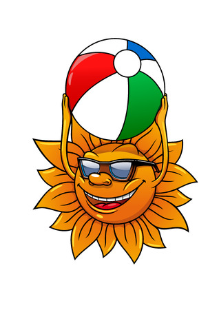 summer cartoon: Funny cartoon summer sun in sunglasses and with ball in hands, for leisure or travel concept design