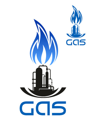 oil and gas industry: Gas and oil industry icon with black silhouette of industrial plant with storage tanks, pipelines and  blue flame above