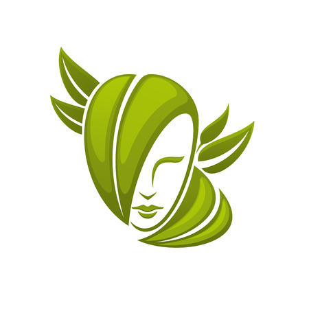 cosmetology: Icon of woman head with green leaves  isolated on white, for natural organic cosmetics or ecology design Illustration