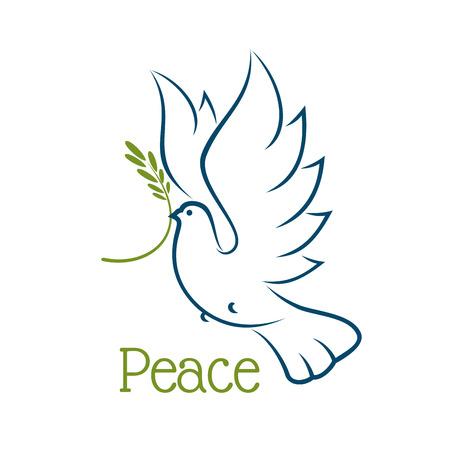 Colomba volante o piccione con ramo d'ulivo ed eleganti ali curve isolato su sfondo bianco. Per la pace o concetto di religione