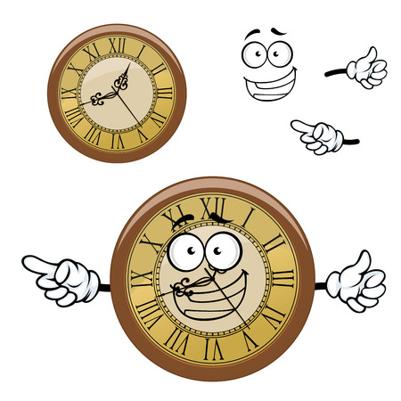 roman: Happy roman numeral wall clock cartoon character with vintage round golden dial and wooden rim, for time concept design