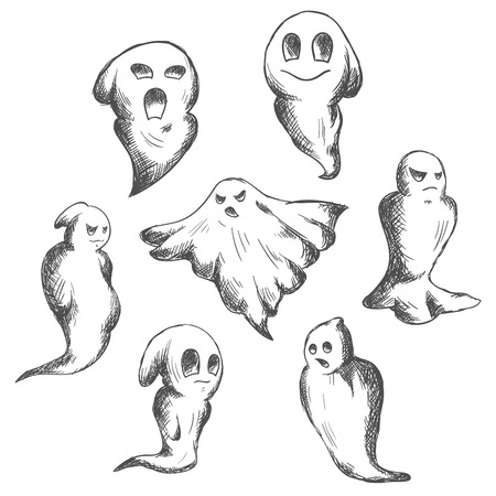 ghost: Flying eerie and danger Halloween ghosts or ghouls, for seasonal or religion design Illustration