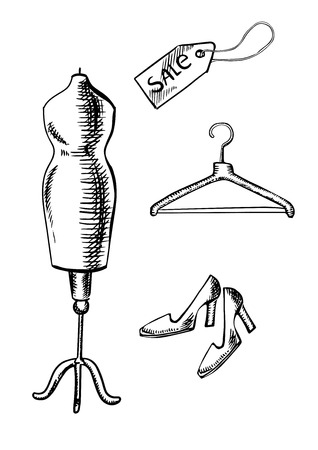 shopping malls: Pair of elegant shoes on high heels, sale label, wooden hanger and mannequin in sketch style, for shopping or fashion design