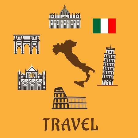 italy culture: Italy flat travel symbols and icons with map silhouette surrounded by national flag, tower of Pisa, Colosseum, arch of Constantine, Sienna cathedral and st. Peter Basilica Illustration