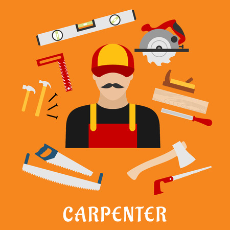 Carpenter and his toolbox tools with hammer, file, axe, nails, handsaw, hacksaw, ruler, plane and measuring level
