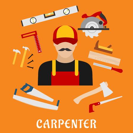 serrucho: Carpenter y sus herramientas de la caja de herramientas con un martillo, archivo, hacha, clavos, sierra de mano, sierra, regla, y el nivel de medición de avión