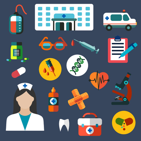 medical icons: Medical flat icons of hospital building, ambulance car, doctor, first aid kit, glasses, microscope, medicine bottles, blood bag, heart, syringe, dna, plaster, clipboard, pen and tooth Illustration