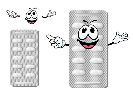 pharmacy pills: Cheerful smiling silver blister of pills character with cylinder white tablets, isolated on white,  for medicine or pharmacy design