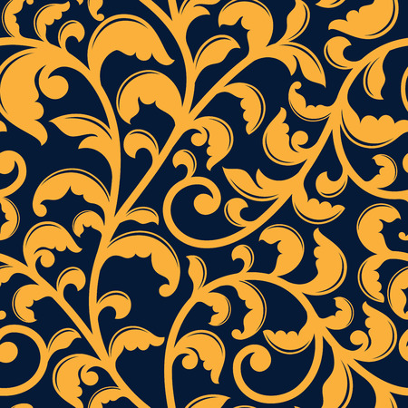 Yellow floral seamless pattern of curly branches with twisted tendrils on blue background, for luxury wallpaper or fabric design