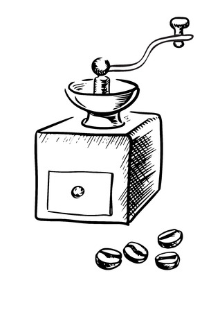 cafe shop: Vintage manual coffee grinder with coffee beans, sketch style. For cafe or coffee shop design Illustration