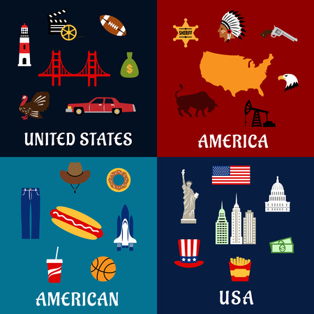 american food: USA travel flat icons with map, flag, dollars, fast food and drinks, statue of Liberty, skyscrapers, bridge, car, cowboy hat, gun, injun, sheriff star, eagle, movie, basketball and rugby ball