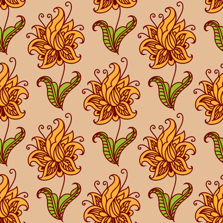 twirls: Orange blooming flowers on green leafy stems adorned by floral twirls seamless pattern for wallpaper or fabric design