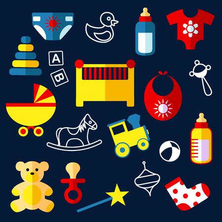 teteros: juguetes para bebés y objetos de iconos planos con cuna, silla de paseo, botellas, babero, chupete del bebé, traqueteo, pañales, ropa, oso, caballo, tren, pirámide, bola y bloques Vectores